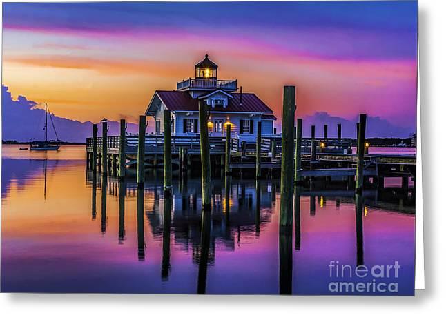 Daybreak At Manteo Lighthouse Greeting Card