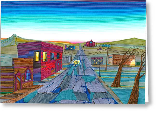 Greeting Card featuring the drawing Daybreak In Mckenzie County by Scott Kirby