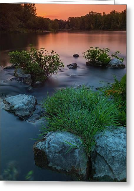 Daybreak Over The Old Riverbed Greeting Card