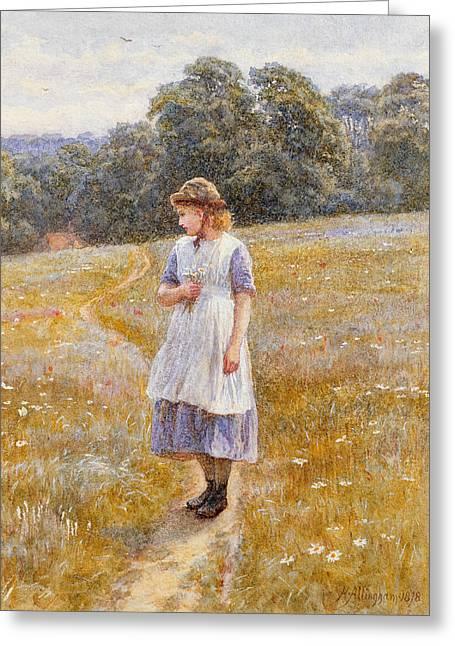 Daydreamer Greeting Card by Helen Allingham