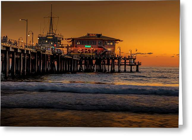 Daylight Turns Golden On The Pier Greeting Card