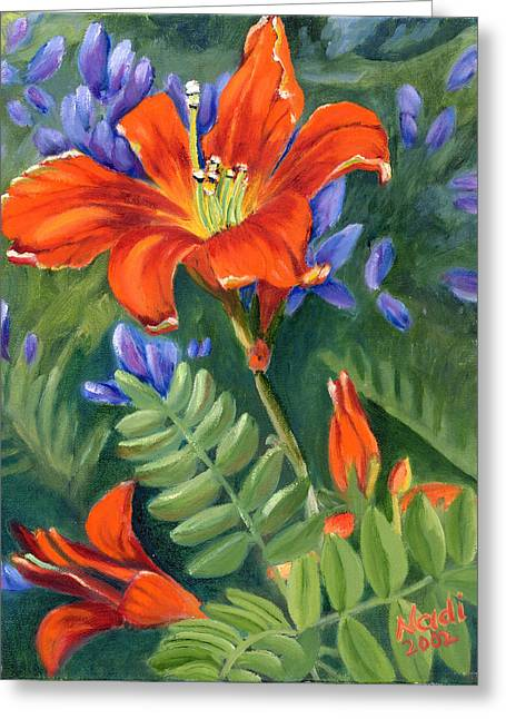 Greeting Card featuring the painting Daylilies by Renate Nadi Wesley