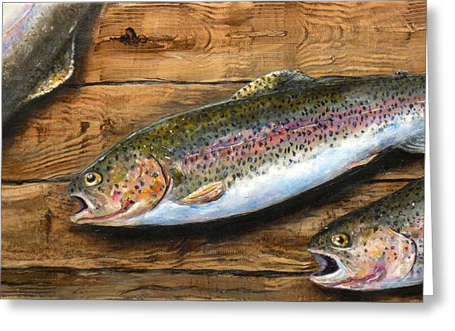 Greeting Card featuring the painting Day's Catch by Chad Berglund