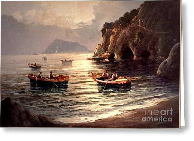 Greeting Card featuring the painting Day's End And Work Begins In The Gulf Of Naples by Rosario Piazza