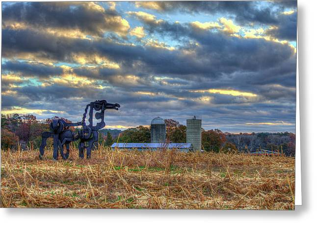 Days Gone By The Iron Horse Farm Art Greeting Card