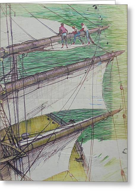 Greeting Card featuring the drawing Days Of Sail by Mike Jeffries