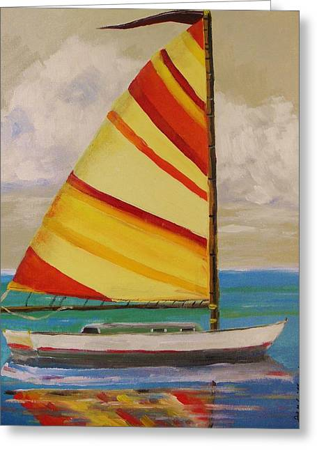 Daysailer By John Williams Greeting Card by John Williams