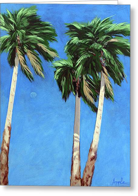 Greeting Card featuring the painting Daytime Moon In Palm Springs by Linda Apple