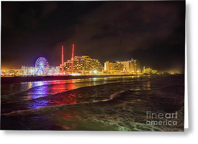 Daytona Beach At Night Greeting Card