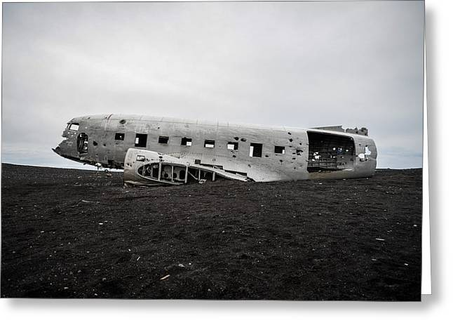 Greeting Card featuring the photograph Dc-3 Wreck On The Solheimasandur by Alex Blondeau
