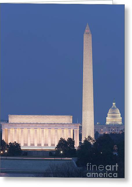 Dc Landmarks At Twilight Greeting Card by Clarence Holmes