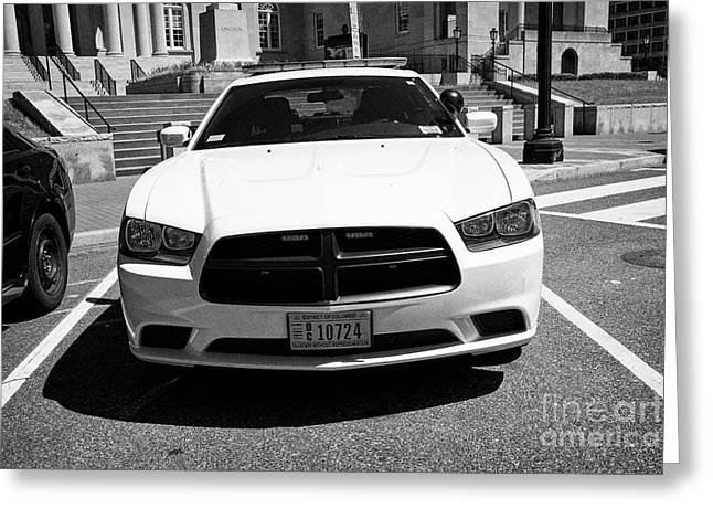 dc metropolitan police dodge charger pursuit cruiser  judiciary square Washington DC USA Greeting Card