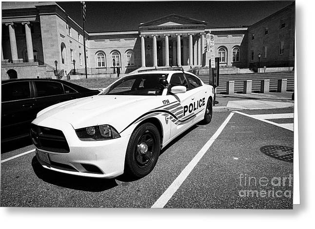 dc police car in front of District of Columbia City Hall now the court of appeals judiciary square W Greeting Card by Joe Fox