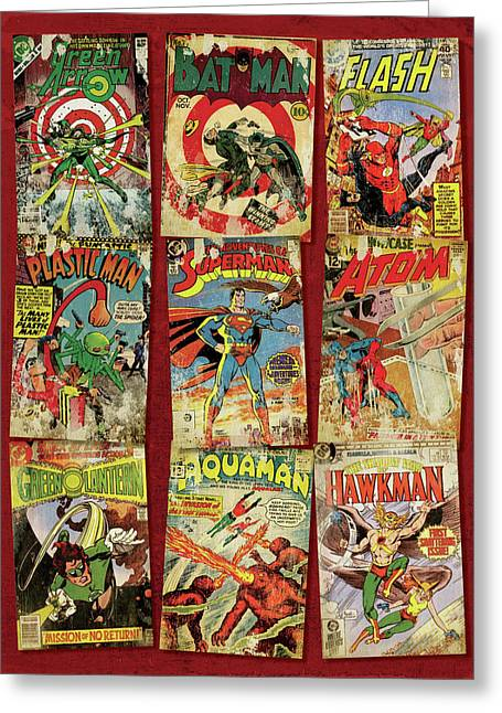 Dc Super Heroes Greeting Card by Russell Pierce