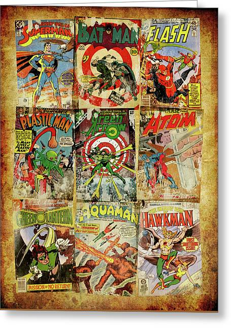 Dc Superheroes Collage Greeting Card by Russell Pierce