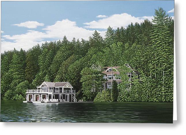 Greeting Card featuring the painting De Groote Summer Home Muskoka by Kenneth M Kirsch