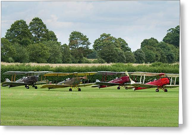 Greeting Card featuring the photograph De Havilland Tiger Moths Line-up by Gary Eason
