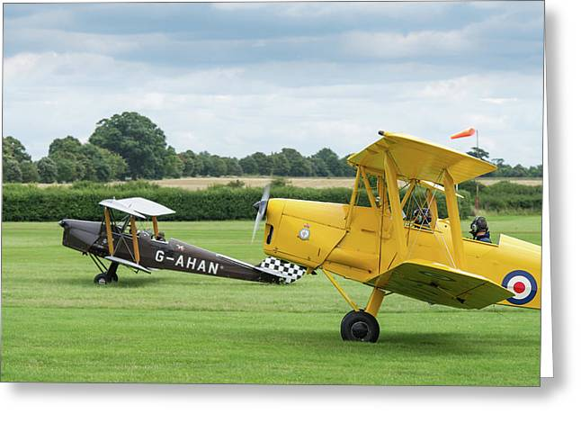 Greeting Card featuring the photograph De Havilland Tiger Moths Taxiing by Gary Eason