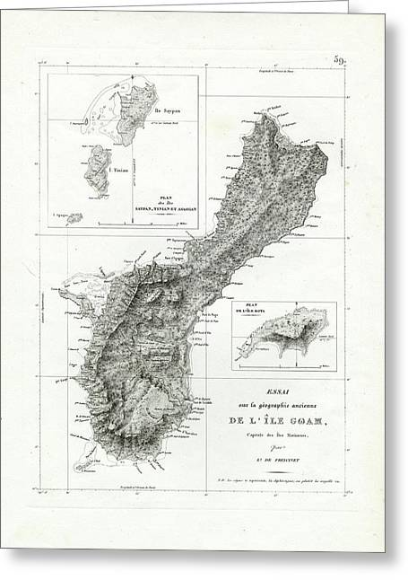 Greeting Card featuring the drawing De L Ile Gwam Guam by Freycinet  DuPerry