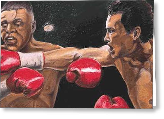 De La Hoya Vs Vargas Greeting Card by Kenneth Kelsoe