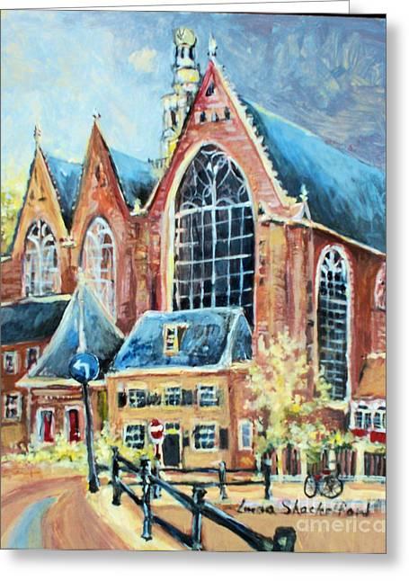 Greeting Card featuring the painting De Ode Kerk by Linda Shackelford