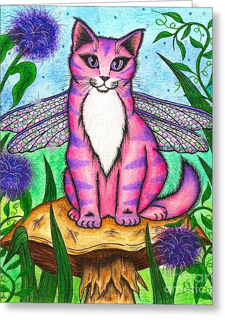 Dea Dragonfly Fairy Cat Greeting Card by Carrie Hawks