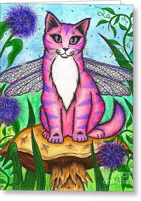 Dea Dragonfly Fairy Cat Greeting Card
