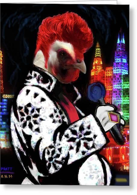 Dead Elvis Chicken Greeting Card
