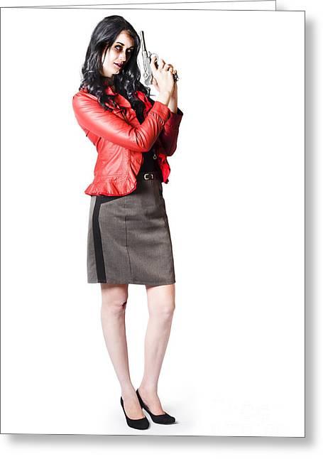 Dead Female Secret Agent Holding Hand Gun Greeting Card