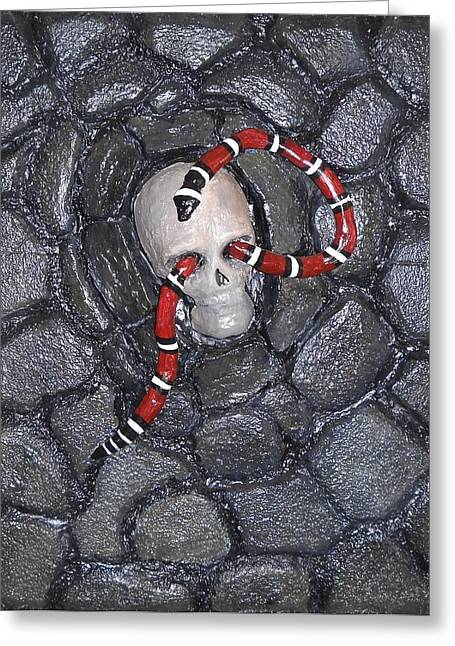 Greeting Card featuring the relief Dead Men Can't Talk  by Edwin Alverio