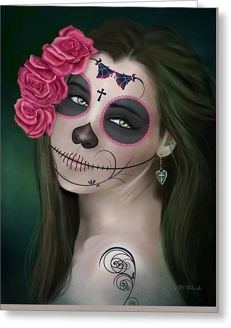 Day Of The Dead Bride Sugar Skull Greeting Card by Maggie Terlecki