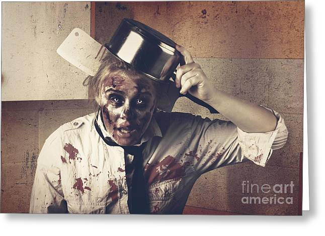 Dead Scary Zombie Girl Cooking Brains Greeting Card