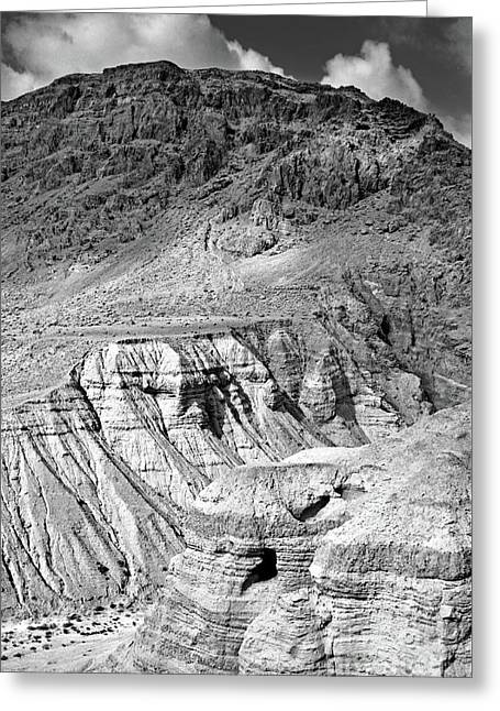 Dead Sea Scroll Caves In B And W Greeting Card by Lydia Holly