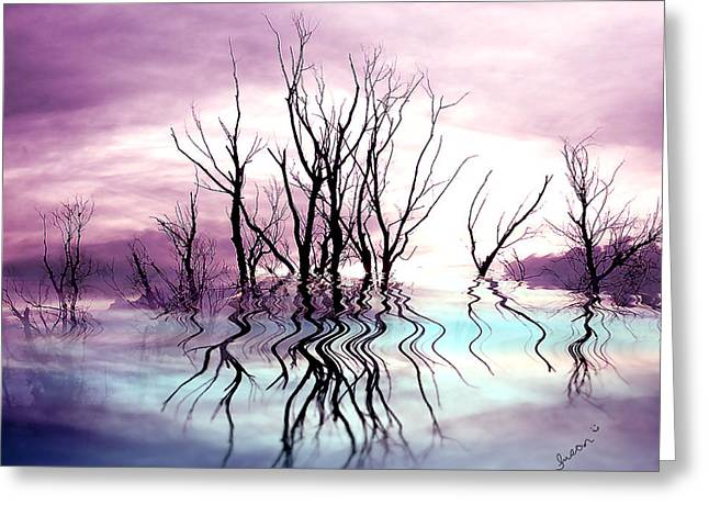 Greeting Card featuring the photograph Dead Trees Colored Version by Susan Kinney
