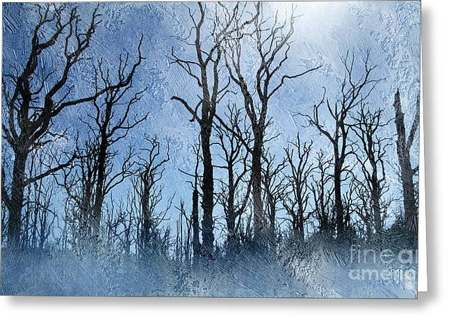 Dead Trees In Blue Greeting Card