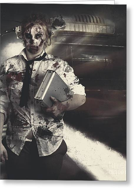 Dead Zombie Business Woman Catching Ghost Train Greeting Card by Jorgo Photography - Wall Art Gallery