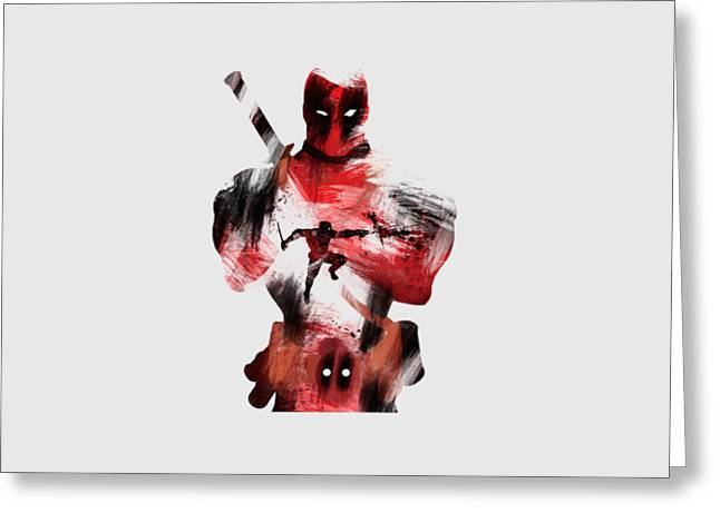 Deadpool Aka The Merc With The Mouth Greeting Card by Brick Jensen