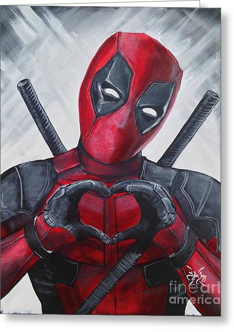 Deadpool Love Greeting Card