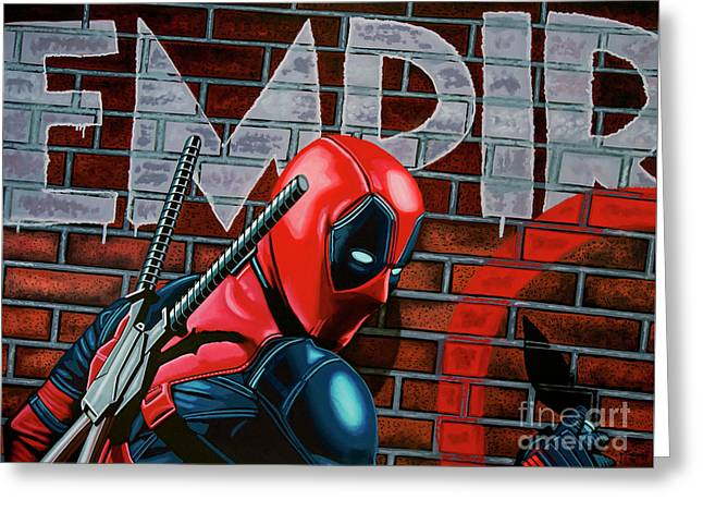 Deadpool Painting Greeting Card by Paul Meijering