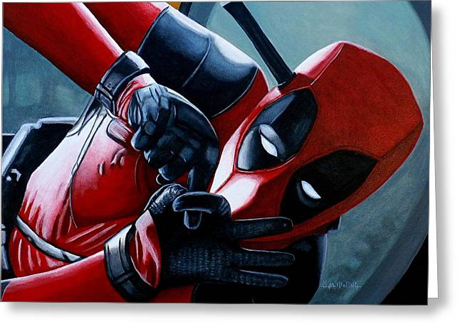 Greeting Card featuring the painting Deadpool Really Loves You by Al  Molina