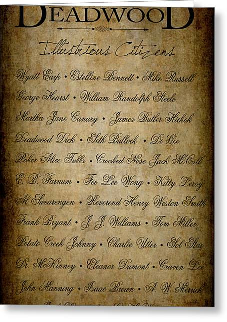 Deadwood Illustrious Citizen Roster Greeting Card by Daniel Hagerman