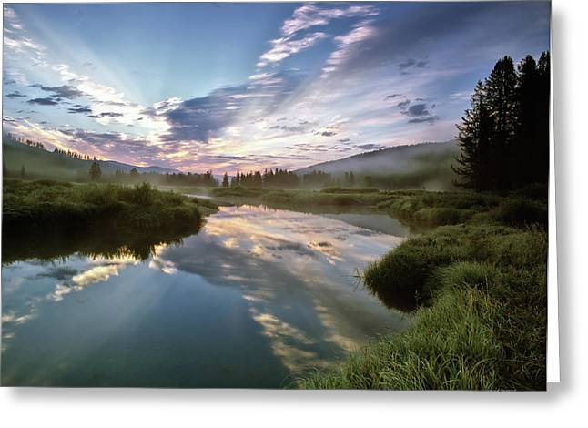 Moist Greeting Cards - Deadwood River Reflection Sunrise Greeting Card by Leland D Howard