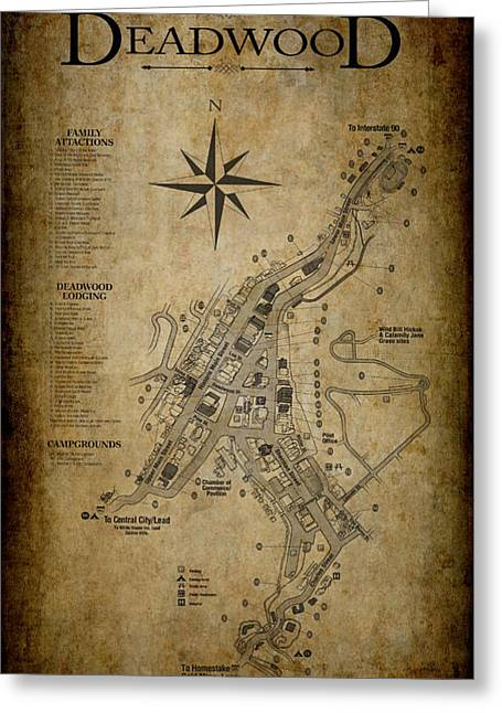 Deadwood South Dakota Map Greeting Card by Daniel Hagerman