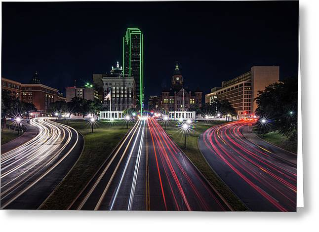 Dealey Plaza Dallas At Night Greeting Card