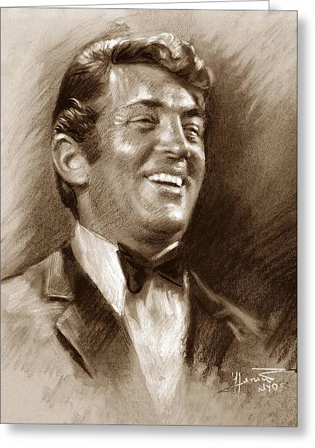 Rat Pack Greeting Cards - DEAN MARTIN br Greeting Card by Ylli Haruni