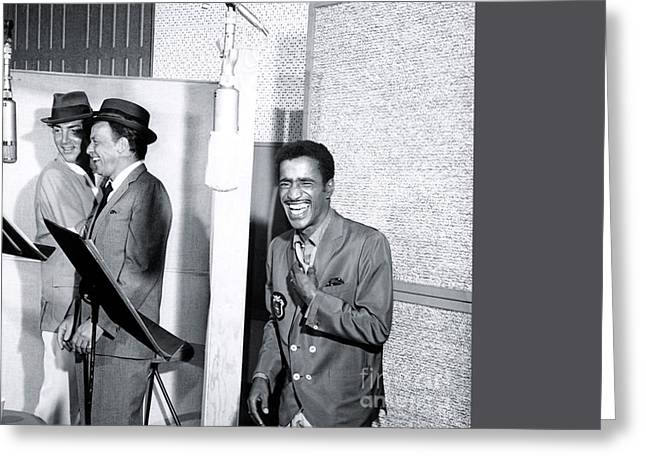 Dean Martin, Frank Sinatra And Sammy Davis Jr. At Capitol Records Studios Greeting Card by The Titanic Project