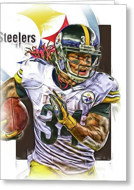 Deangelo Williams Pittsburgh Steelers Oil Art Greeting Card by Joe Hamilton