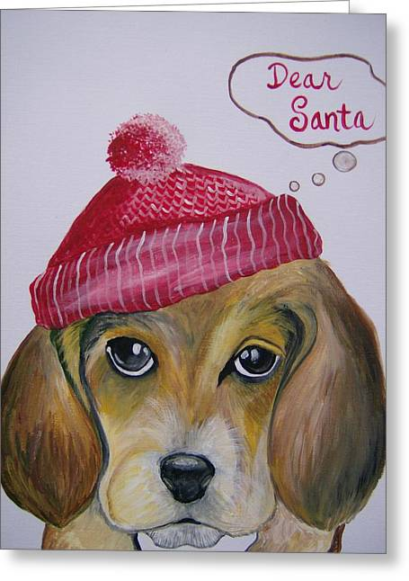Greeting Card featuring the painting Dear Santa by Leslie Manley