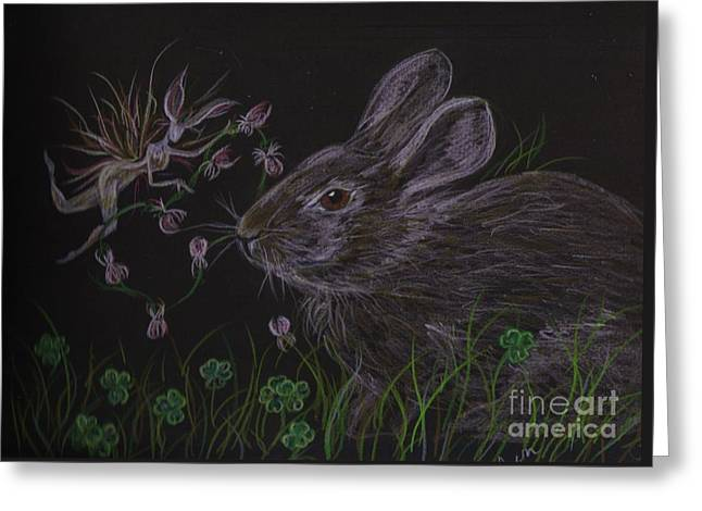 Greeting Card featuring the drawing Dearest Bunny Eat The Clover And Let The Garden Be by Dawn Fairies