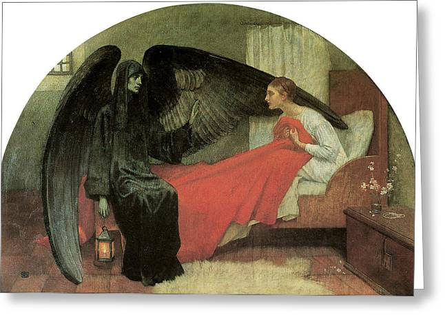 Death And The Maiden Greeting Card by Marianne Stokes